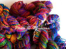 Handspun Recycled Soft Silk Sari Knit Crochet Woven Yarn 1000 Grams- 10 Skeins
