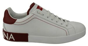 DOLCE & GABBANA Shoes Sneakers White Leather Red Logo Mens Casual s. EU44 / US11