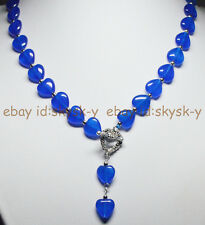 12MM Blue Sapphire Heart-shaped Gems Pendant Necklace Tibetan silver Love Clasp