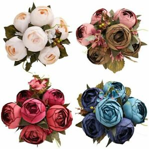 Artificial Peony Bunch Flower Branch Silk Bouquets Green Home Decorations 50cm