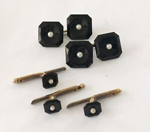 Antique Art Deco 14k Five Piece Onyx & Pearl Cuff Link Set