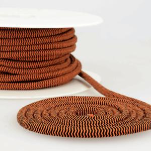 Elastic Chevron Cord 5mm - Rust & Black - Trim Cord Stretch Waist Elastic