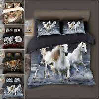 Animal Duvet Quilt Cover 3D Bedding Set + Fitted Sheet & Pillowcase All UK Size
