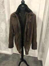 Brown Donar suede/ leather effect men's coat size 52 fur detachable fur collar