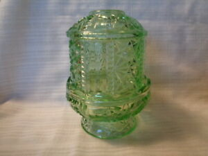 Vintage Green Indiana Glass?? Stars and Bars Fairy Lamp/Light  Candle Lamp