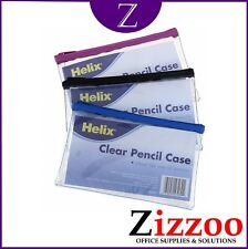 HELIX CLEAR PENCIL CASE 203 X 127MM EXAM APPROVED WITH  CHOICE OF COLOURS