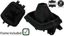 PINK STITCH LEATHER MANUAL GEAR GAITER +PLASTIC FRAME FOR MAZDA CX5 CX-5 12-16