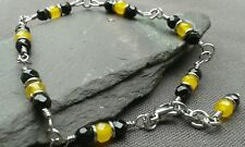 Handmade Natural Black Onyx and Brazilian Yellow Topaz Gemstone Bracelet