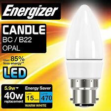 6x Energizer 5.9 WATT = 40W LED WARM WHITE BC A BAIONETTA CAP Risparmio Energetico Lampadina