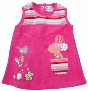 GIRLS PINK APPLIQUE CUTE ANIMAL VELVET DRESS AGE6-12,12-18, 18-24, 2-3, 3-4YEARS