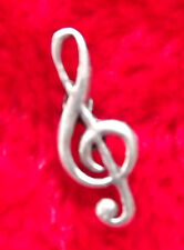 Musical Treble cleff Hand-Crafted English Pewter Badge/Brooch + free UK postage