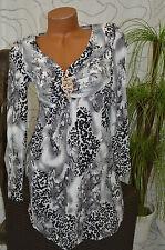 Kleid Freizeitkleid Party Volant knielang grau Tigermuster langarm Größe 36