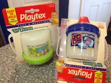 2 PLAYTEX VINTAGE NO SPILL SIPPY CUPS FREE SHIPPING! 2 HANDLES RARE COLLECTORS!!