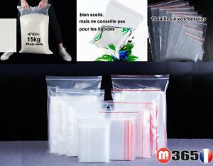 Lot Sachet plastique fermeture ZIP Transparent bag pochon Pochette sac sacoche t