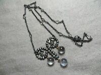 Victorian Cut Steel/Crystal Bezel Gun Metal Chain/Pool of Lights Dangle Necklace