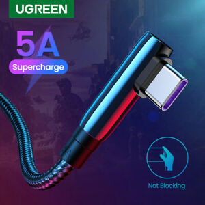 Ugreen 90 Degree Type C Braided Cable 5A SuperCharge Data for Huawei 0.5m 1m 2m