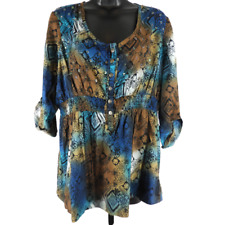 CATO Multi Blue Brown Sequin Floral 3/4 Sleeve Blouse Women's Size XL