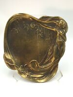 Lovely Art Nouveau STYLE Bronze Jewelry Desk Tray - in Style of Alphonse Mucha