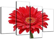 Large Red White Gerbera Daisy Canvas Wall Art Pictures Prints XL 4097