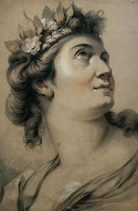 19th century Vintage Drawing - Dessin Ancien - Woman Portrait