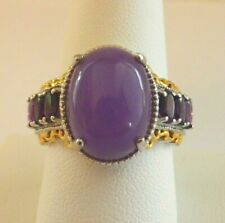 PURPLE JADE AMETHYST RING YG Vermeil Platinum Over Sterling SIlver Size 9
