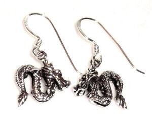 Drache Ohrhänger Drachen Ohrringe 925 Sterling Silber Schmuck Neu Dragon Earring