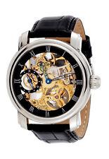 Gotham Men's Stainless Steel Mechanical Skeleton Leather Strap Watch # GWC14059B