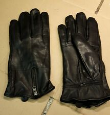 Gents high quality Linea soft black leather gloves zip back medium.