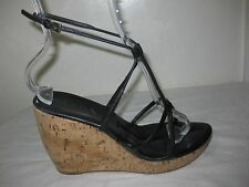 PRADA  Leather Black Strappy Cork Wedge  Sandals Shoes Size 38.5 / 8