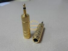 1x Mono 6.3mm Female to 3.5mm Male Adapter plug Gold