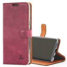 Samsung Galaxy S9 Case Wallet Genuine Leather Viewing Stand Flip Cover Pink Plum