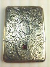 LA SECLA FRIED & CO. STERLING SILVER MATCH SAFE / VESTA CASE, GARNET INSERT 1911