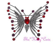 Silver Butterfly Stunning Brooch Pin w/ Red, White & Amethyst Swarovski Crystals