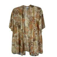Chicos Size 3 Kimono Lace Women Size XL Metallic Orange Short Sleeve Open Front