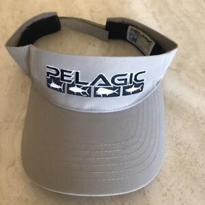 PELAGIC Offshore Fishing Gear Adjustable Visor Hat One Size Beige / Black EUC