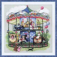 Carrousel 14 count cross stitch kit par Riolis Victorien Double échelonné
