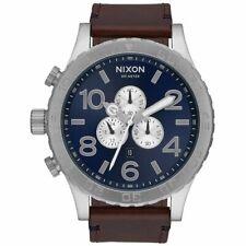 NIXON 51-30 A124-2301 CHRONO Silver/Blue dial Brown Leather band Men's Watch