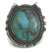 Vintage Horseshoe Sterling Silver Southwest Turquoise  Ring Size 7.5 12.9g