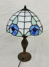 """Vtg Tiffany Style Table Desk Lamp Stained Glass Blue Flower Shade 9.5"""" 16"""" Tall"""