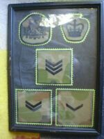 S/H 5 X FRAMED SEW ON AUSTRALIAN ARMY PATCHES L/Cpl,Cpl,Sgt and Wo2 & Aust.