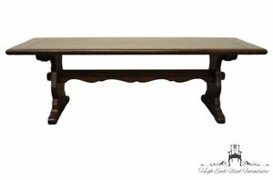 """ETHAN ALLEN Antiqued Pine Old Tavern 54"""" Accent Trestle Coffee Table 12-8000"""