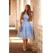 CHI CHI LONDON PARTYPROM WEDDING BLUE BAROQUE STYLE FLORAL DRESS 10 14 , RPP £75