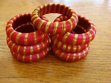 """7 Christmas Holiday Napkin Rings Red & Gold Thread 2"""" wide"""