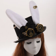 Punk Party Bunny Ear Hat Vintage Steampunk Gear With Gothic Glasses Top Hat