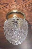 Vintage Clear ACORN Bubble Glass CEILING Lamp Light Fixture HOBNAIL NEW MINT