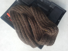 Alpaca Scarf Men Rib Chunky Hand Knit Wool Striped Coffee Brown Fisherman