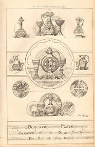 1873 ANTIQUE ARCHITECTURE, DESIGN PRINT-  DOMESTIC PLATE, BY MOYR SMITH