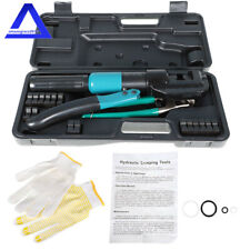 10 Ton Hydraulic Crimper Crimping Tool Wire Battery Cable Lug Terminal With9 Dies