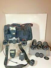 Canon AE-1 Program Camera & Huge Lot of Lens & Bag & Flash  & More