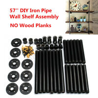 42Pcs DIY Industrial Wall Mounted Iron Pipe Shelf Bracket Floating Shelf Holder